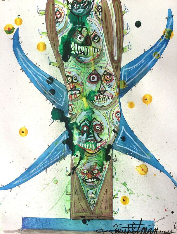Mixed-media artwork beanstalktotem by Joey Feldman