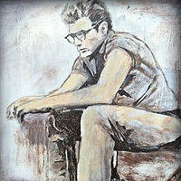 Acrylic painting James Dean by Carly Jaye Smith