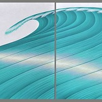 Oil painting The Wave triptych by Sue Ellen Brown