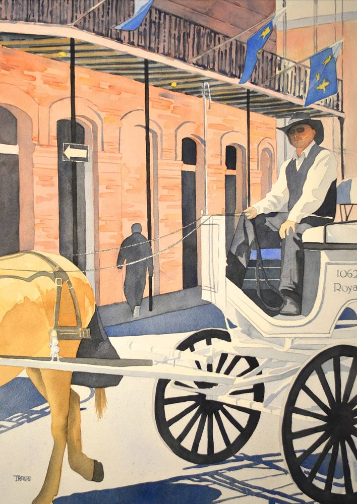Watercolor New Orleans Carriage ride by Travis Poelle