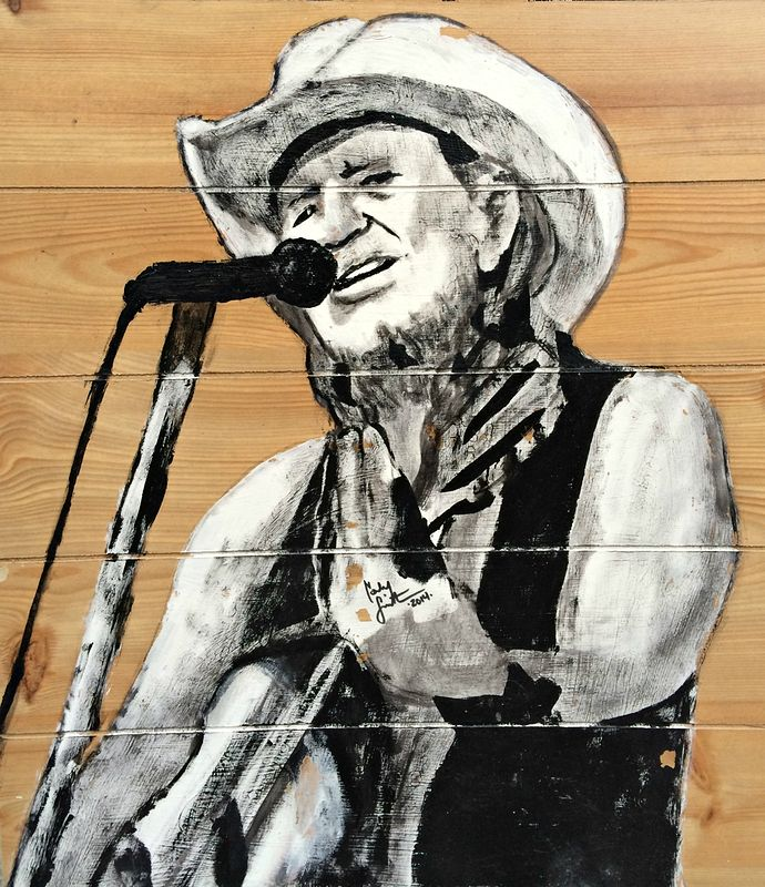 Acrylic painting Willie Nelson by Carly Jaye Smith