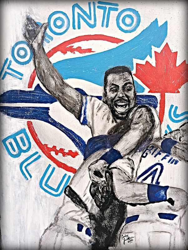 Acrylic painting Joe Carter by Carly Jaye Smith