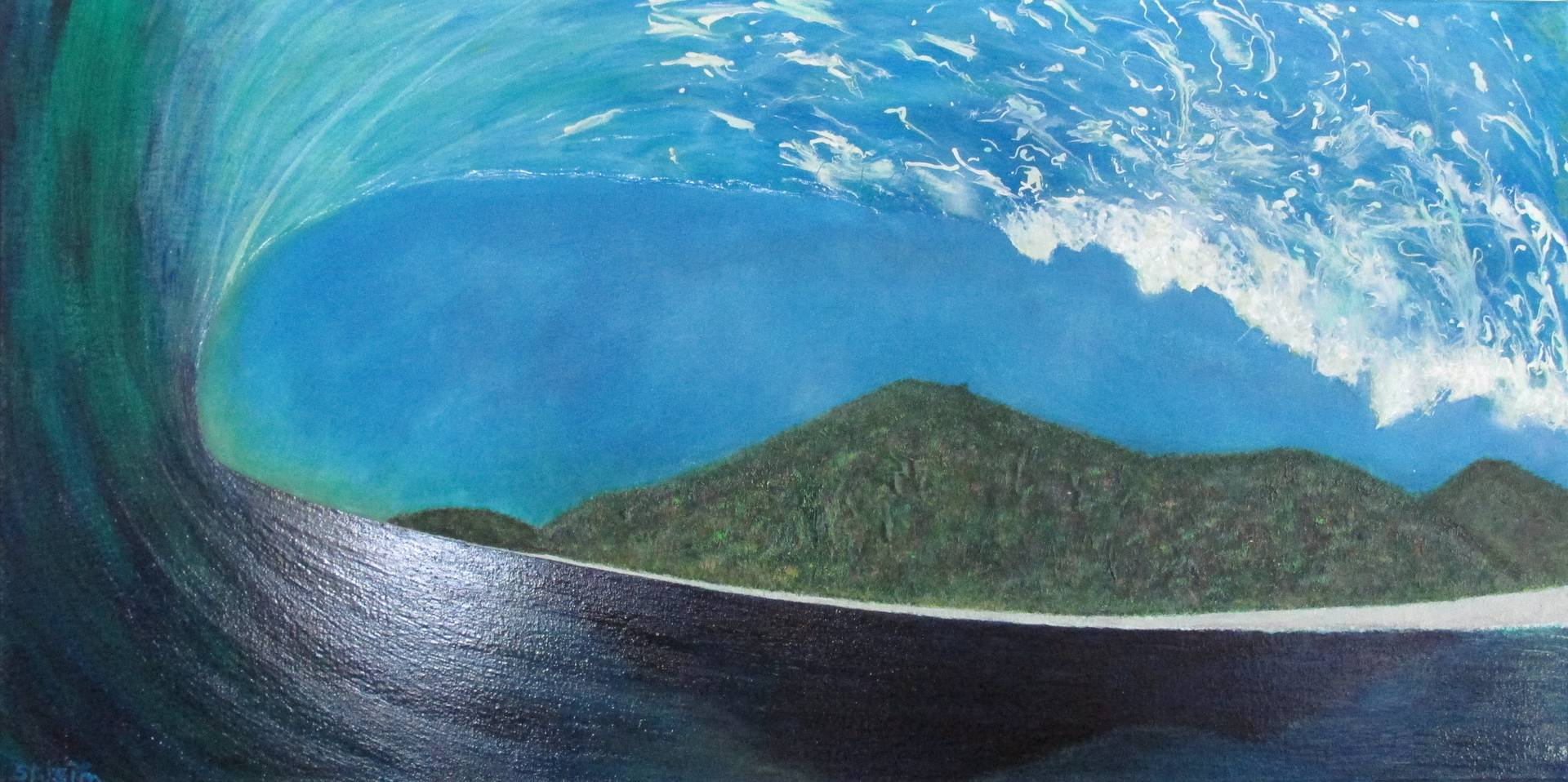 Acrylic painting Low Tide At Humpback Point by Steven Simmons