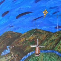 Acrylic painting Heron Flying a Kite by Steven Simmons