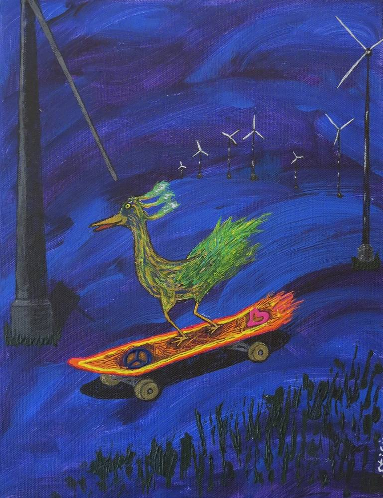 Acrylic painting Midnight Skate by Steven Simmons