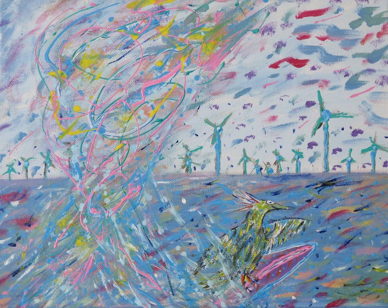 Acrylic painting Surfing at the Windmill Farm by Steven Simmons