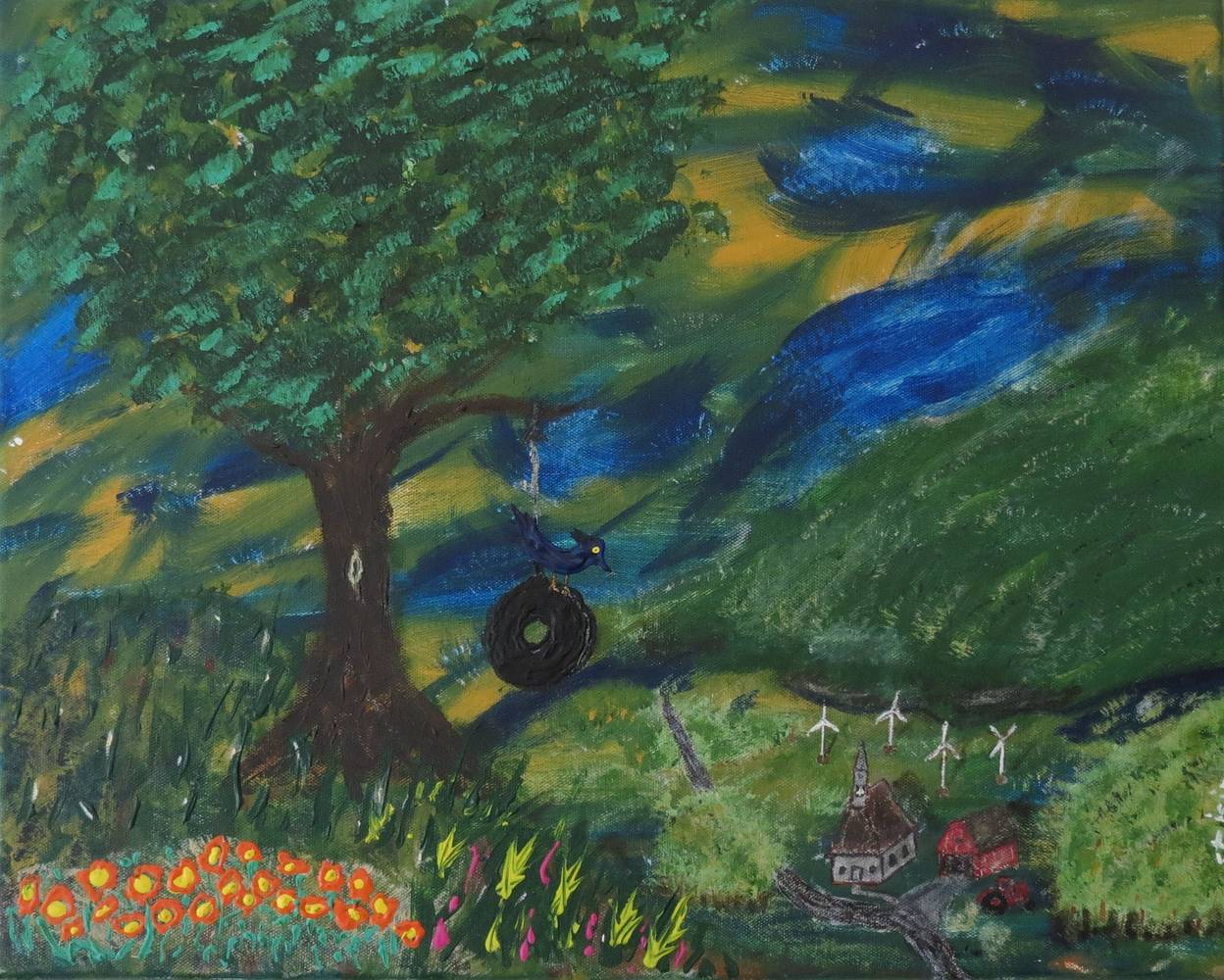 Acrylic painting Tire Swing by Steven Simmons
