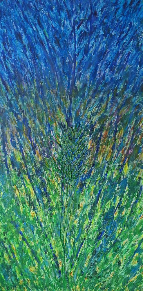 Acrylic painting Green Into Blue by Steven Simmons