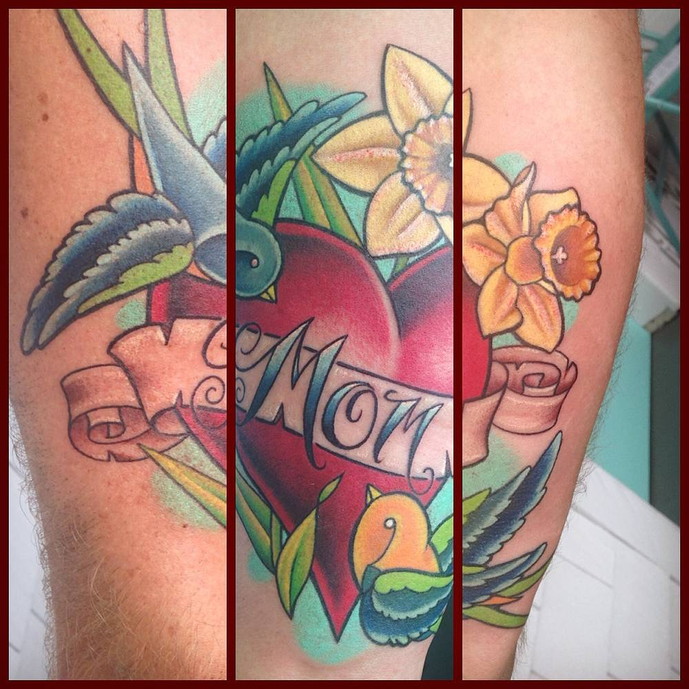 Traditional Mom/heart tattoo Tofino B.C. by Erin  Burge