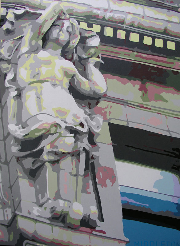 Acrylic painting Detail, Vancouver Sun Building by Stephen Middleton