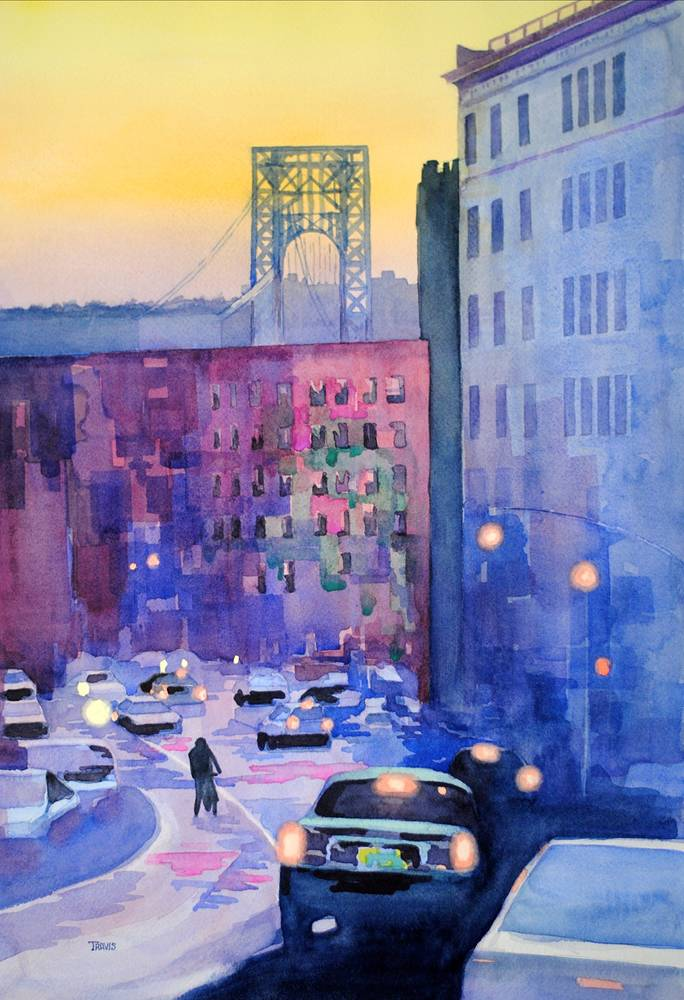 Watercolor Twilight on 181st by Travis Poelle