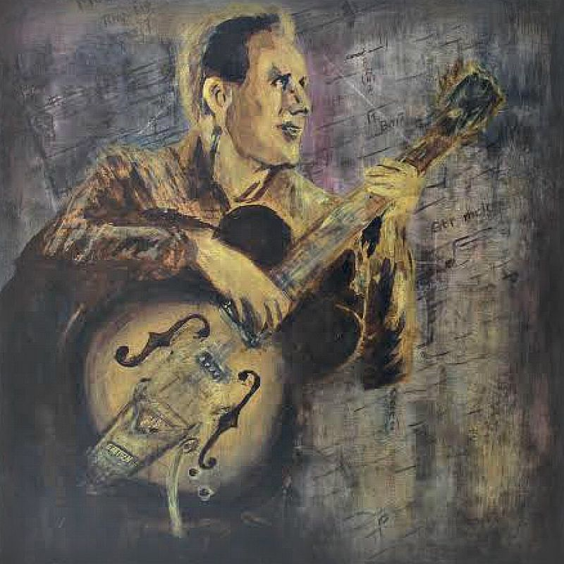 Acrylic painting Chet Atkins by Carly Jaye Smith