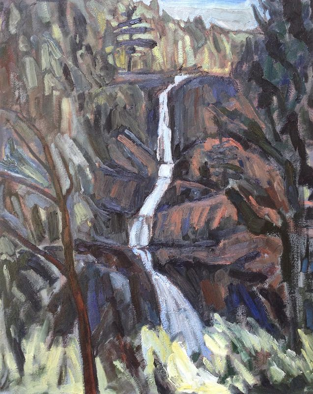 Oil painting Roaring Brook Falls by Edward Miller