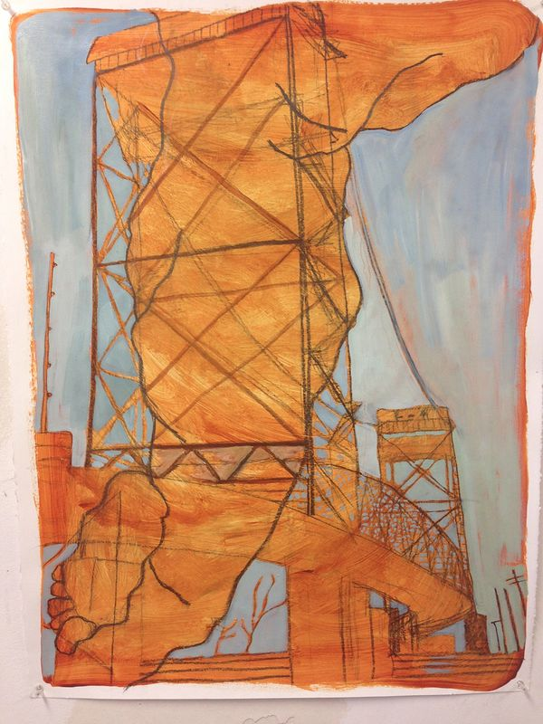 Claiborne Bridge Dash 24 x 18 oil and graphite on acrylic on paper by Edward Miller