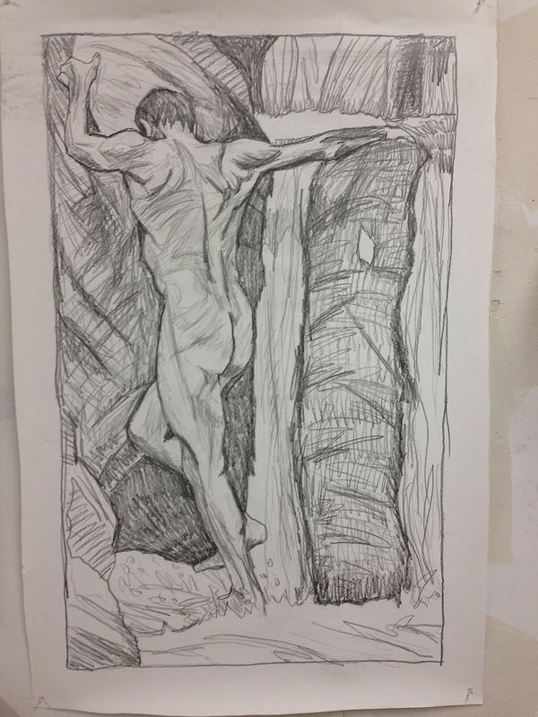 Drawing Falls Climber  by Edward Miller