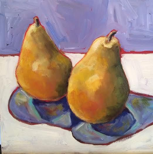 Oil painting Pears on Purple  by Sarah Trundle