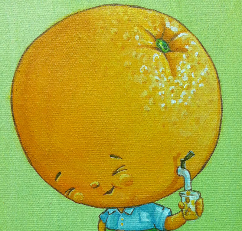 Acrylic painting Orange Juice - Detail by Cindy Scaife