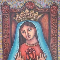Acrylic painting Our Lady of the Sacred Rose by Emily K. Grieves