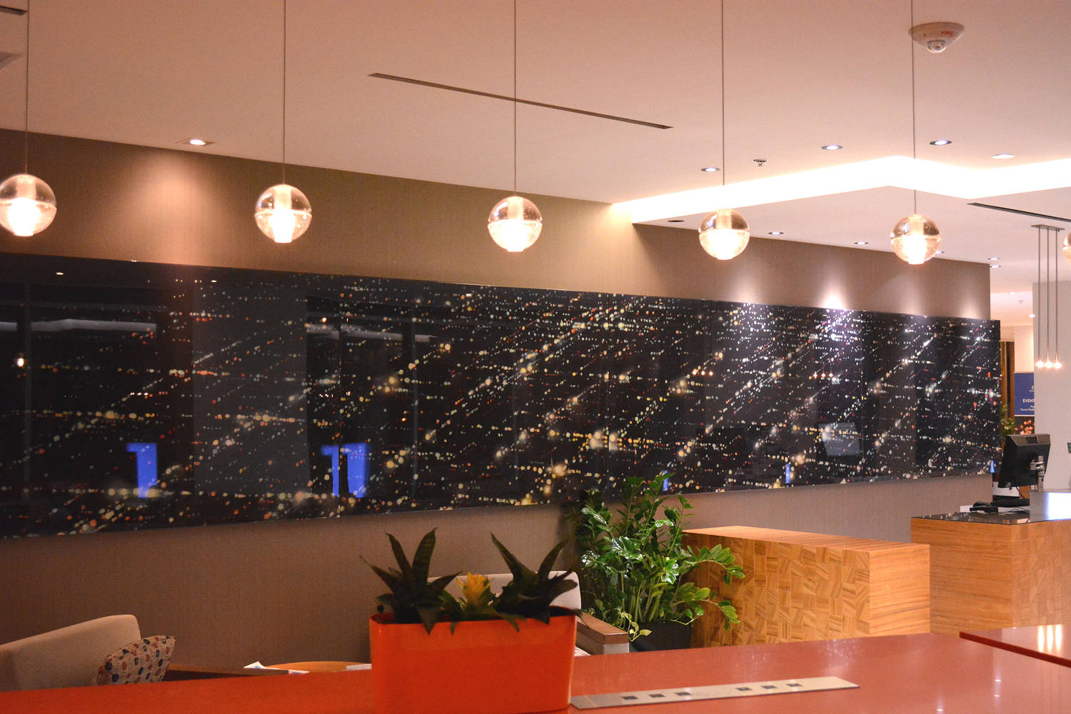 Lobby of Downtown Ottawa Delta Hotel, installation of print of painting - 4 ' x 36 ', 2012 by Dennis Ekstedt