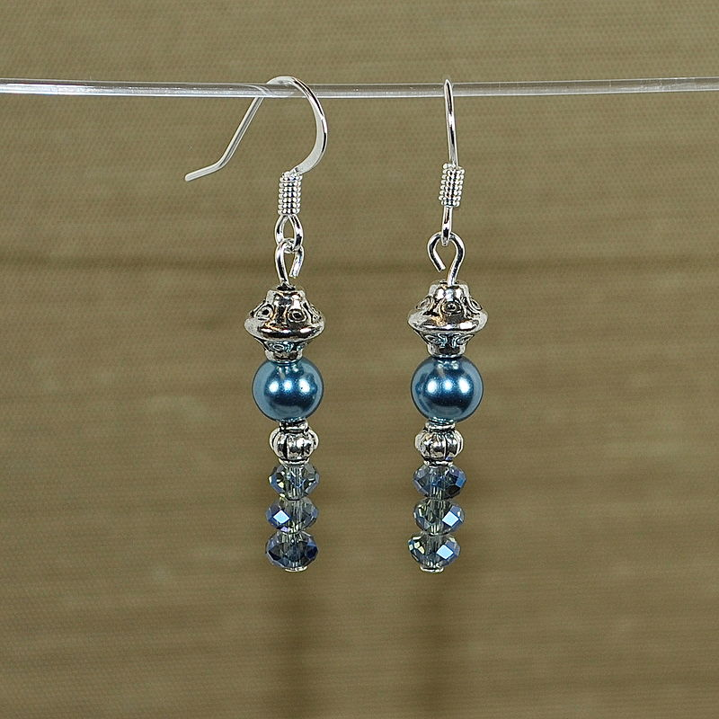 Blue Satin Silver and Crystal by Sue Ellen Brown