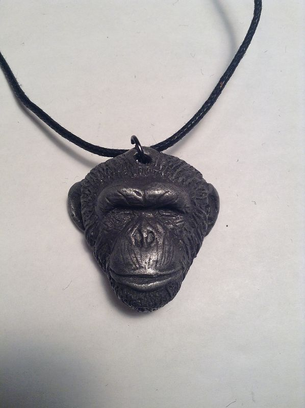 Knuckles chimpanzee pendant dark cold cast pewter by Jason  Shanaman