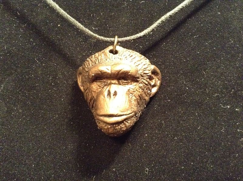Knuckles chimpanzee pendant bronze finish by Jason  Shanaman