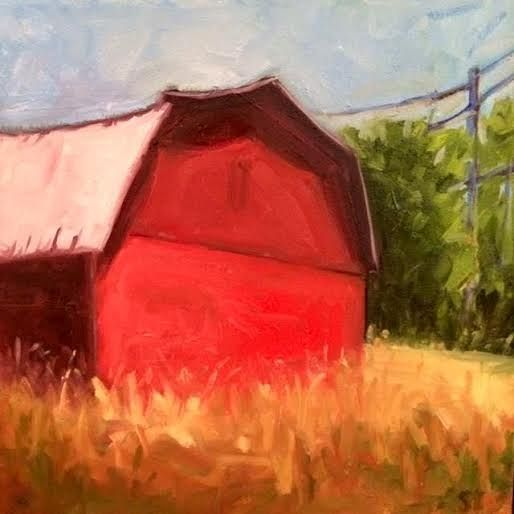 Oil painting Red Barn- SOLD by Sarah Trundle