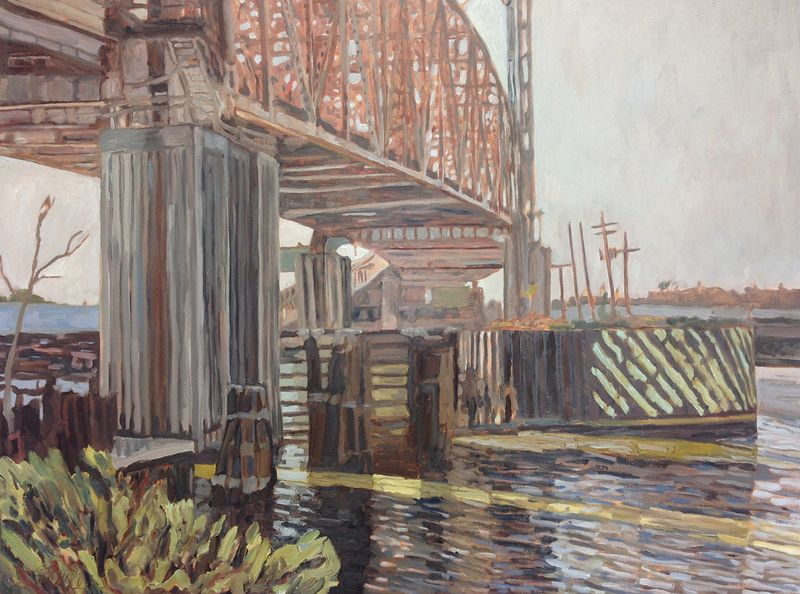 Under the Claiborne Ave Bridge 36x48 oil on linen by Edward Miller
