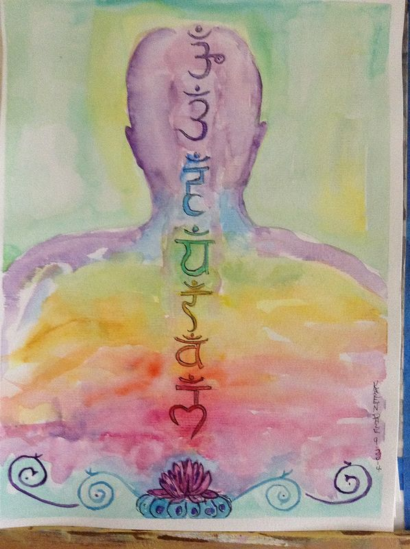 Watercolor Chakras by Karen Brodeur