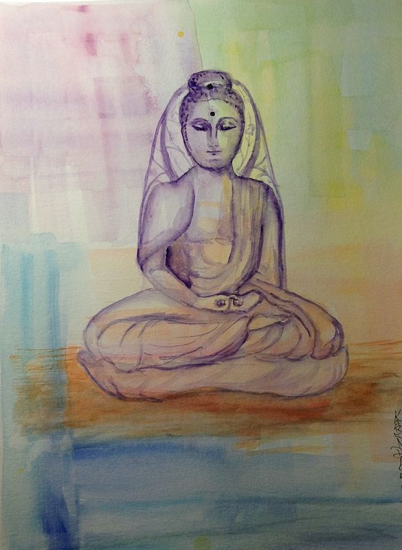 Watercolor Sitting Buddha by Karen Brodeur