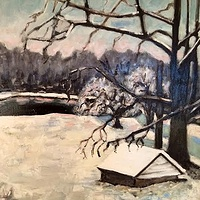 Oil painting Pond in Snow- SOLD by Sarah Trundle
