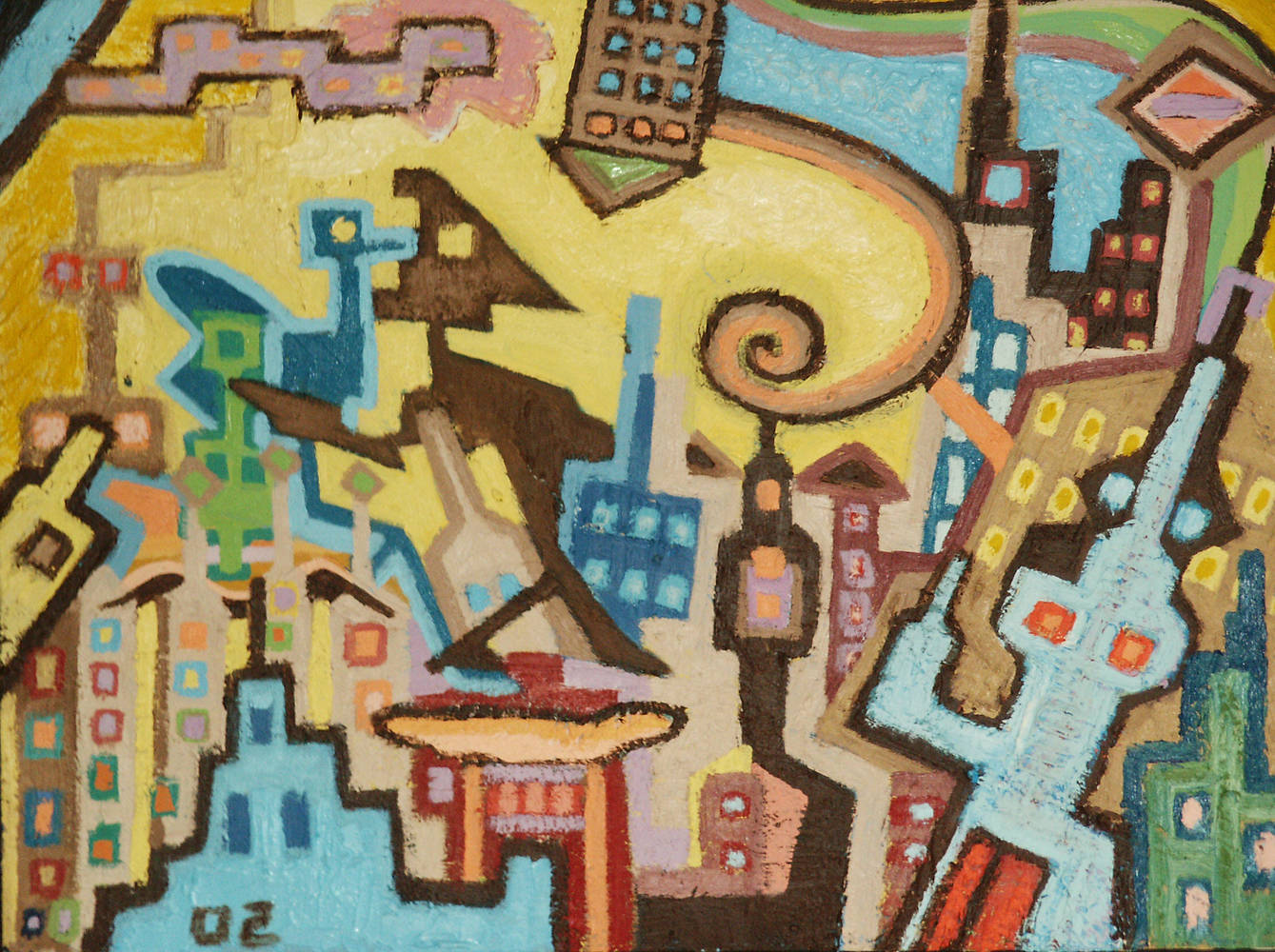 Yellow City 2002 18x24 by Jeffrey Fine