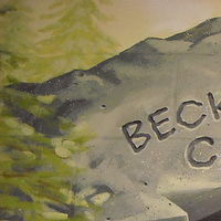 Painting Redstone P.S.  - Library - Beck's Bear Cave - Lettering detail by Cindy Scaife