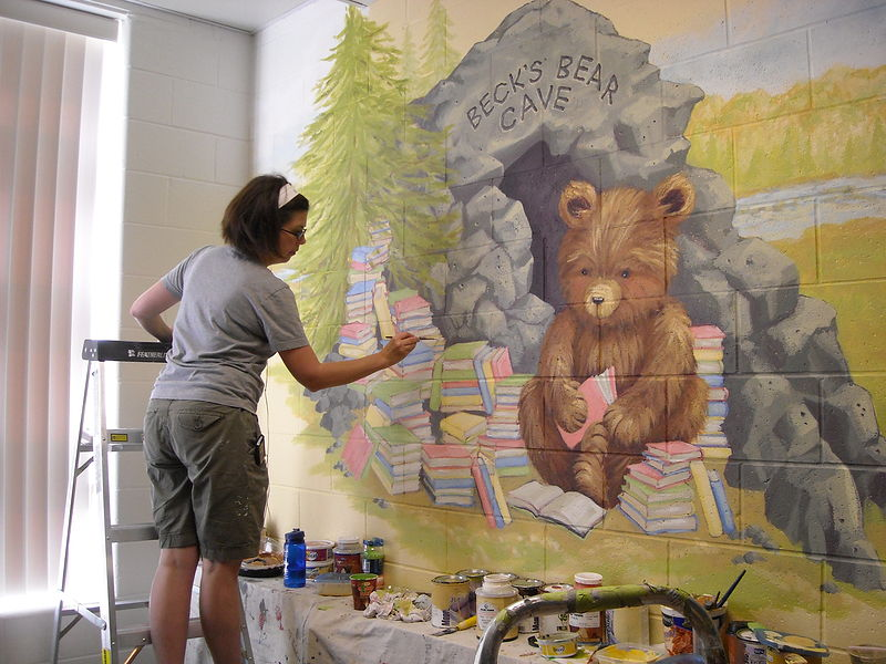 Painting Redstone P.S.  - Library - Beck's Bear Cave - Progress image by Cindy Scaife