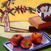 Oil painting Apples on Silver- SOLD by Sarah Trundle