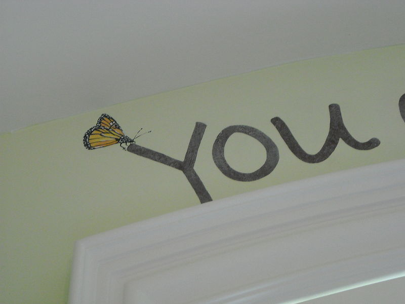 Acrylic painting You are my Sunshine - Hand Lettered and Hand Painted Butterfly Detail by Cindy Scaife
