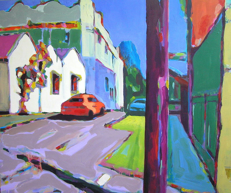 Streetscape 4 - Acrylic on canvas, 96cm x 96cm by Jude Hotchkiss