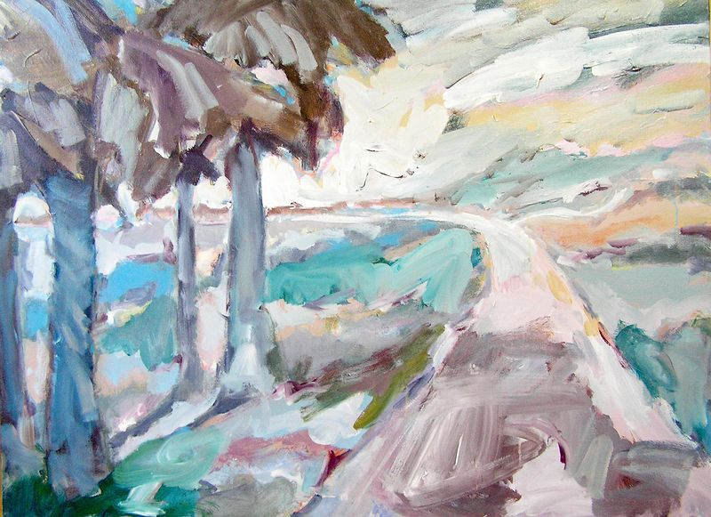 Landscape 8 - Acrylic on canvas, 36cm x 52cm by Jude Hotchkiss