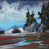 Bradey Beach Tide Returning   Acrylic 12x16 2015 - Copy by Brian  Buckrell