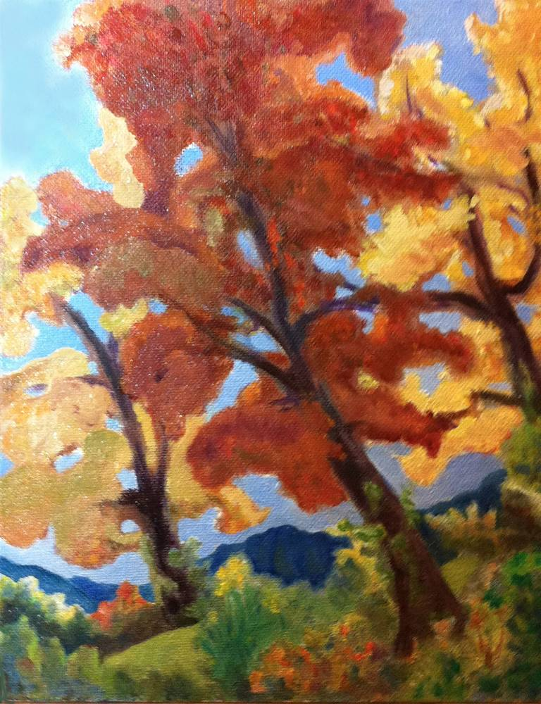 Oil painting Maple Trees and Tiger Lilies by Anastasia O'melveny