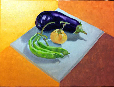 Oil painting Heirloom Tomato and Friends by Anastasia O'melveny