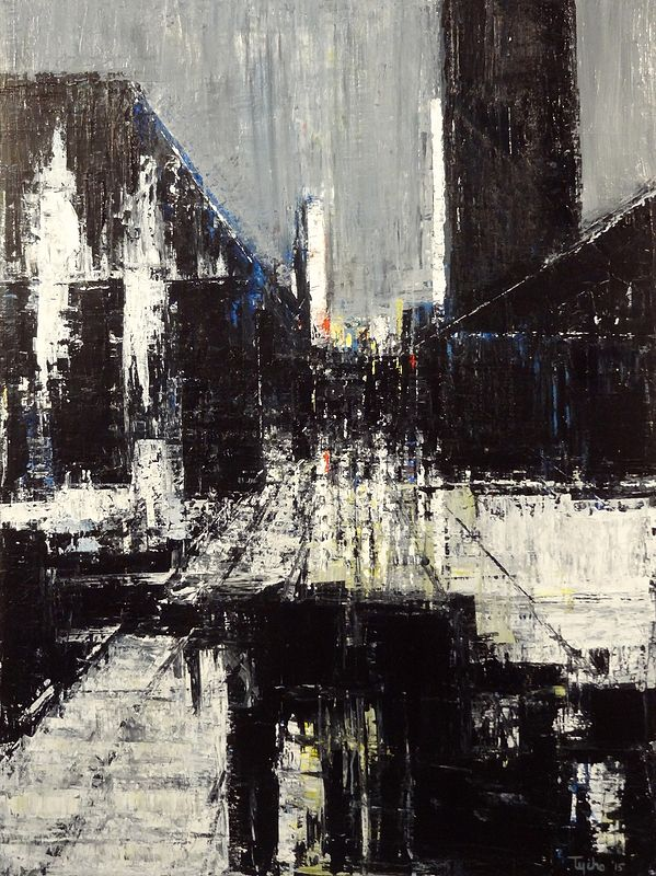 Acrylic painting Urban Composition No. 3 by David Tycho