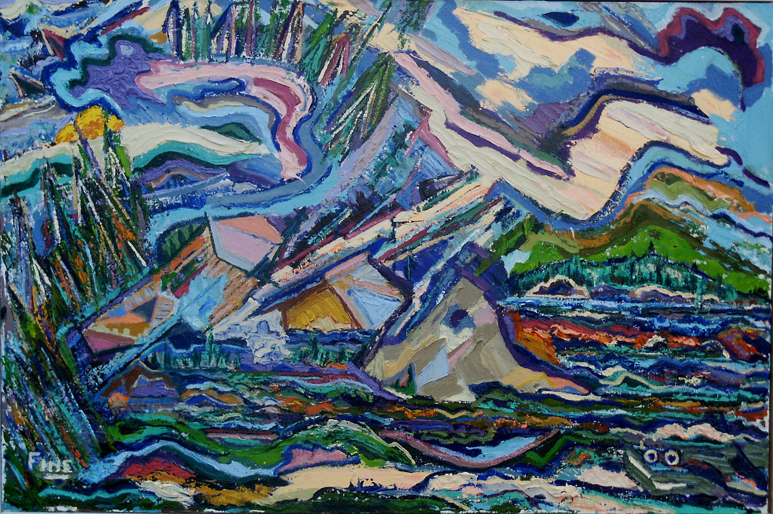 Painting Wind and  Water 2000 24x36 by Jeffrey Fine