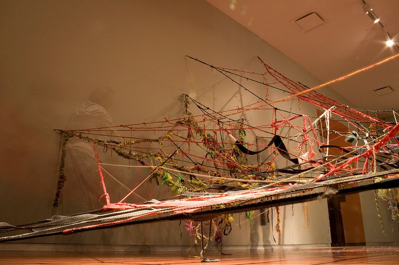 & ME!, (cargo nets, shoelaces, yarn, rubber, human hair, paper, etc.) by Colby Brewer