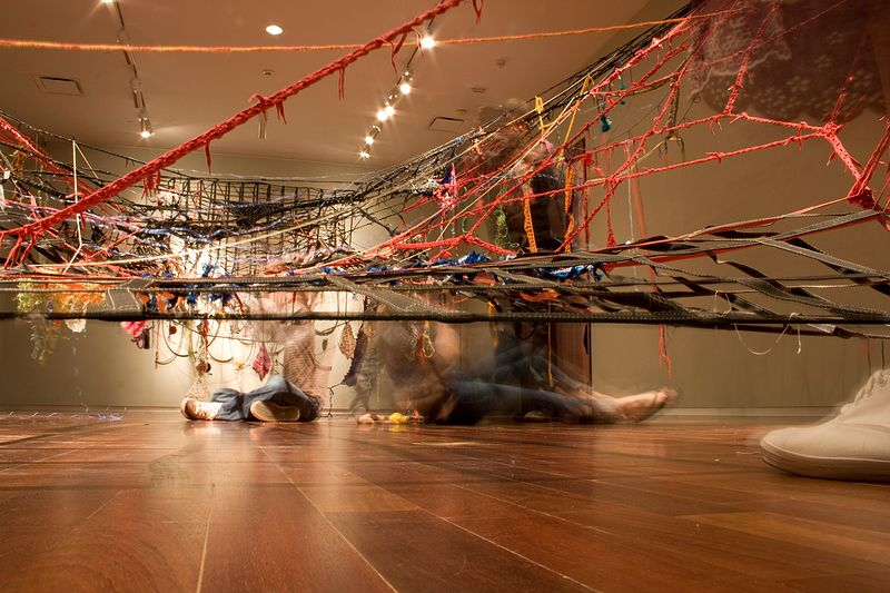 Sculpture & ME!, (cargo nets, shoelaces, yarn, rubber, human hair, paper, etc.) by Colby Brewer