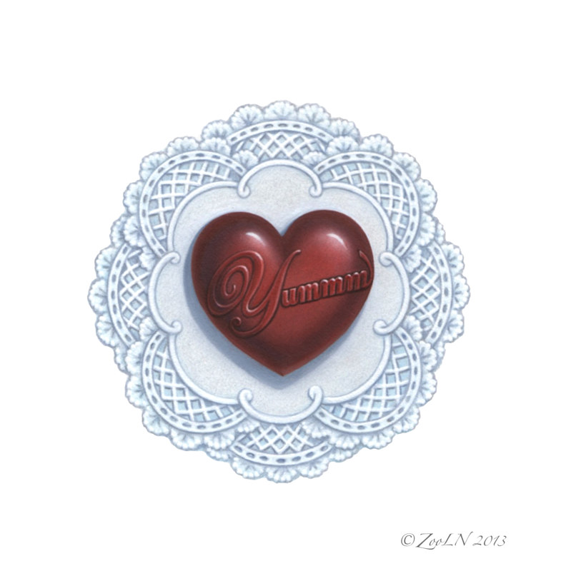 Oil painting Chocolatey Heart by Sue Ellen Brown