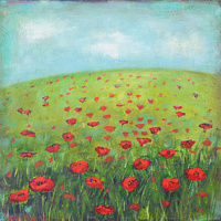 Acrylic painting Spring Poppies by Sally Adams