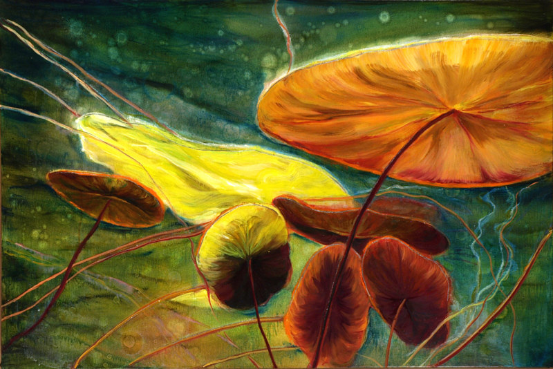 Mixed-media artwork Waterlilies 35. 2014 by Sandra  Martin
