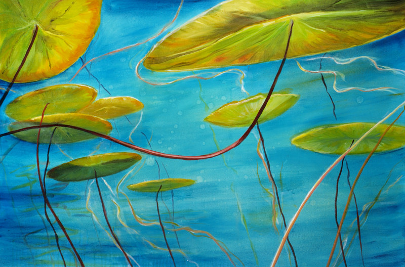 Mixed-media artwork Waterl lilies 39. 2015 by Sandra  Martin