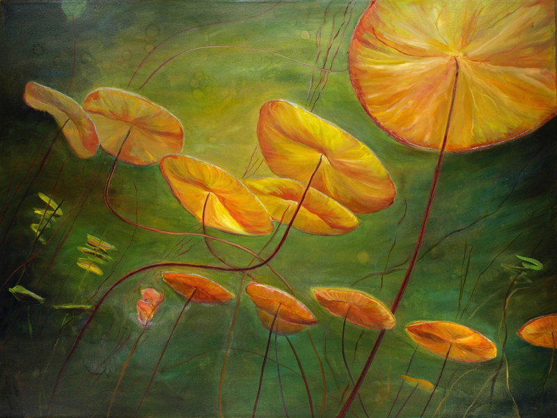 Mixed-media artwork Waterlilies 38, 2014 by Sandra  Martin